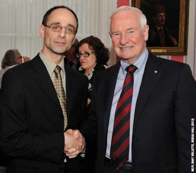 His Excellency the Right Honourable David Johnston congratulates Rat Creek Press editor Darren Boisvert at Rideau Hall in Ottawa